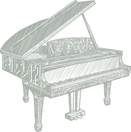 a line drawing of a piano