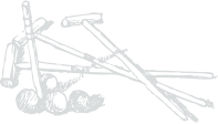 line drawing of a cricket set