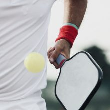 close up of a pickleball hit