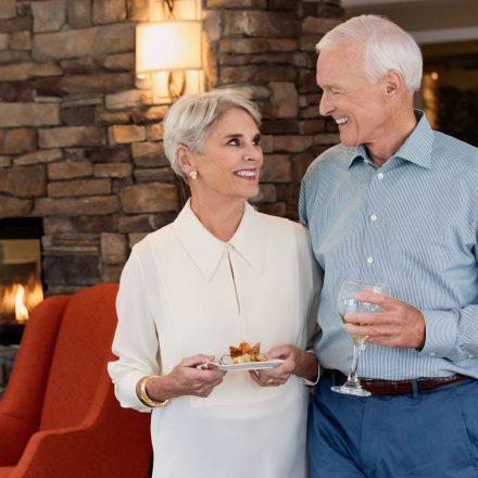 a couple enjoying a meal